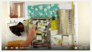 This design board shows colors and hues of Spring. Take a look at the drapery, slipcover and beautiful fabrics.